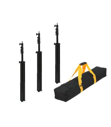 Pack: 3 x Light Stand 260 cm + Transport Bag