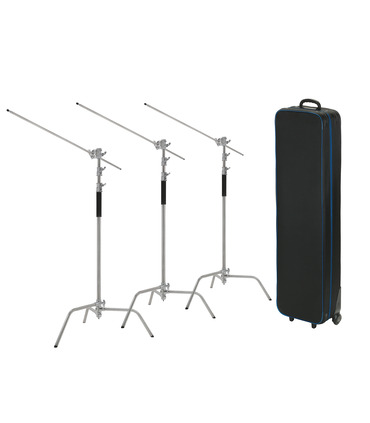 Pack: 3 X C-Stand 330 cm + arm + case