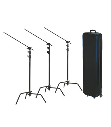 Pack: 3 X C-Stand 330 cm + arm + case (black)