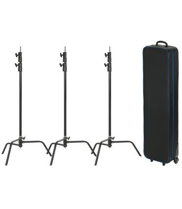 Pack: 3 x C-Stand 330 cm + case (black)